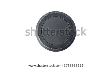 unbranded rear lens cap on white background, isolated rear lens cap #1758888191