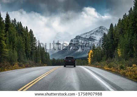 Rear of car driving on highway in the forest with mountain on gloomy at Banff national park Royalty-Free Stock Photo #1758907988