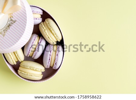 Lilac lavender and light green mint macarons with pistachio and lime ganache in stripped pink and white cartoon gift box. Green background. Top view. Copy space. Sweets box or birthday present.