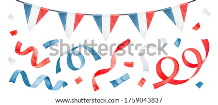 Colorful set with French triangle flag bunting, party confetti and celebration streamers. Hand painted watercolour graphic sketch, cutout clip art elements for design decoration, greeting card, print.