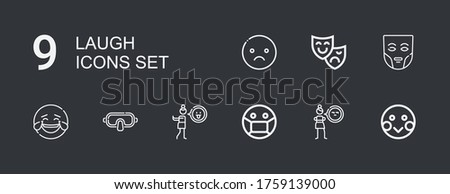 Editable 9 laugh icons for web and mobile. Set of laugh included icons line Shy, Cynicism, Mask, Disgusted, Laughing, Theatre mask, Sad on dark background #1759139000