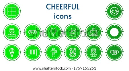 Editable 14 cheerful icons for web and mobile. Set of cheerful included icons line Delicious, Shy, Monster, Mask, Hot air balloon, Girl, Swing, Troll, Teddy bear #1759155251