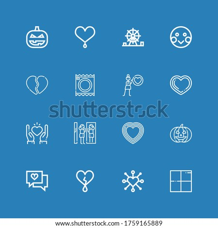 Editable 16 emotion icons for web and mobile. Set of emotion included icons line Delicious, Heart, Love, Pumpkin, Amusement park, Condoms, Broken heart, Shy on blue background #1759165889