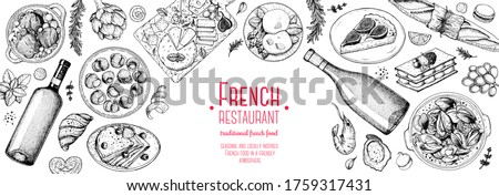 French food top view, Hand drawn. Classic French dishes. Food menu design template. Hand drawn sketch vector illustration. Cheese, wine, bakery, gourmet food. Royalty-Free Stock Photo #1759317431