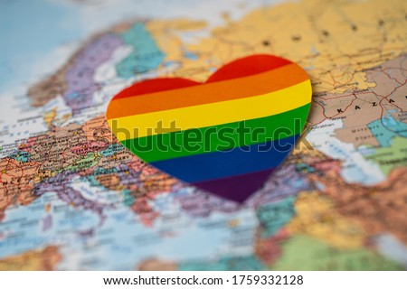 Rainbow color heart on Europe globe world map background, symbol of LGBT pride month  celebrate annual in June social, symbol of gay, lesbian, gay, bisexual, transgender, human rights and peace.