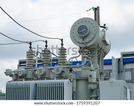 High voltage transformer. High voltage power transformer substation. power transformer. #1759391207