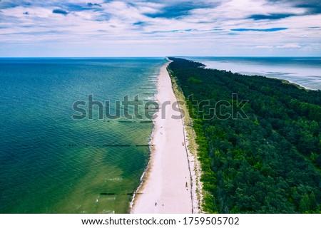 Chalupy Beach Aerial View. Hel Penisula from Above. Baltic Sea, Pomerania, Poland.  Royalty-Free Stock Photo #1759505702