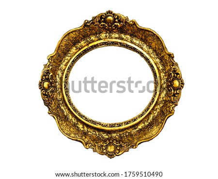 Vintage luxury golden frame with ornate baroque decoration isolated over white background. Retro fancy picture frame for interior design.