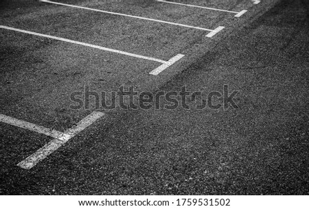 Parking lines on the asphalt, detail of signs for car parking