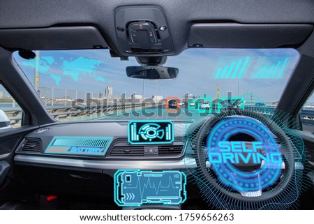 Smart car (HUD) concept. Empty cockpit in vehicle and Self-Driving mode car graphic. #1759656263