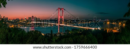 Istanbul Bosphorus panoramic photo. Istanbul landscape beautiful sunset with clouds Ortakoy Mosque, Bosphorus Bridge, Fatih Sultan Mehmet Bridge Istanbul Turkey.Best touristic destination of Istanbul Royalty-Free Stock Photo #1759666400