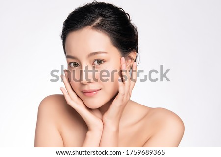 Beautiful Young asian Woman touching her clean face with fresh Healthy Skin, isolated on white background, Beauty Cosmetics and Facial treatment Concept, Royalty-Free Stock Photo #1759689365
