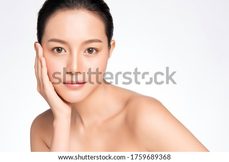 Beautiful Young asian Woman touching her clean face with fresh Healthy Skin, isolated on white background, Beauty Cosmetics and Facial treatment Concept, Royalty-Free Stock Photo #1759689368