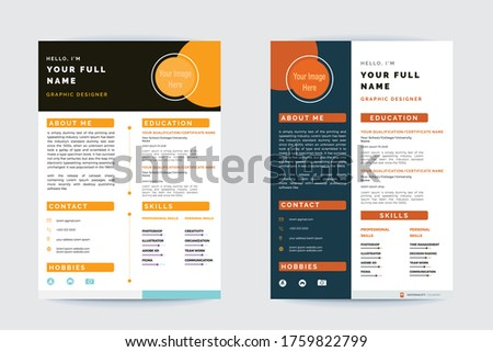 Professional CV Resume design template colorful CV design - Yellow and Orange Color CV Fully customization - Free Personal CV for business