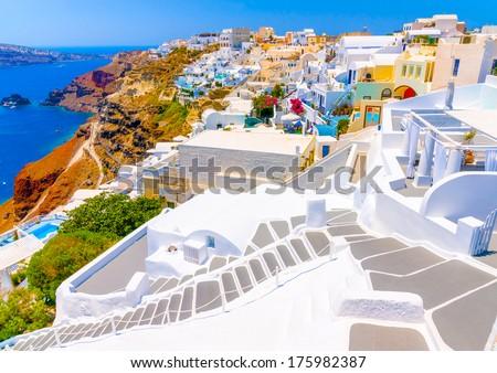 Beautiful steps in Oia the most beautiful village of Santorini island in Greece #175982387