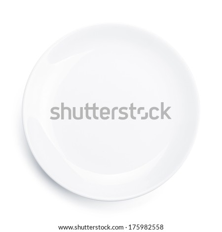 Empty plate. Isolated on white background. View from above Royalty-Free Stock Photo #175982558