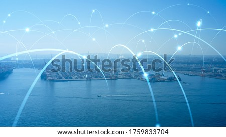 Modern port and ships aerial view and communication network concept. Ship radio. 5G. IoT. #1759833704