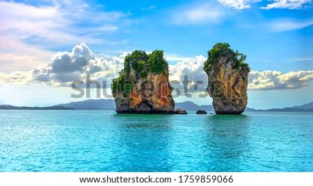 Tropical islands in tropical sea. Phuket sea islands landscape. Tropical sea islands view Royalty-Free Stock Photo #1759859066