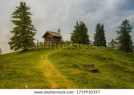 Background picture of beauty in nature and small house