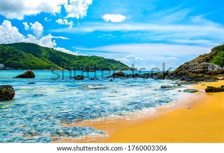 Tropical mountain sea beach landscape. Sea island sand beach view. Tropical sea sand beach landscape. Sand beach #1760003306