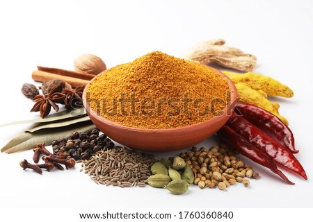 Curry Masala Powder with ingredients, this is a common spice ,curry powder  in Indian kitchen #1760360840