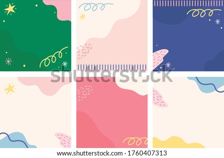 Set abstrac cute feed instagram background. modern art Scandinavian design style. Chic pastel background. Hand drawn Abstract  Organic shapes backround for instagram.  Royalty-Free Stock Photo #1760407313