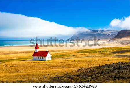 Mountain sea valley church landscape. Sea church landscape. Church at mountain sea valley. White church at mountain sea #1760423903