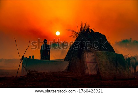 Red sunset man silhouette in Africa. Sunset man silhouette. Africa sunset man silhouette #1760423921