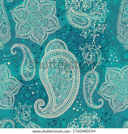 Paisley - Indian folk weaving seamless ethnic pattern. Floral oriental ethnic background. Arabic and indian tribal ornament. Ornamental motives of the paintings of oriental fabric patterns. #1760480594