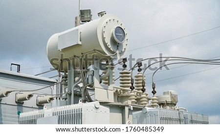 High voltage transformer. High voltage power transformer substation. power transformer. #1760485349