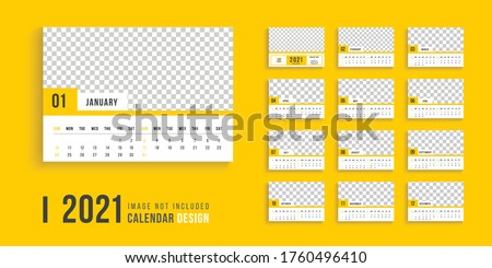 Desk calendar for 2021 design, clean 2021 calendar design, professional desk calendar design week start on sunday, yellow color clean desk calendar design. #1760496410