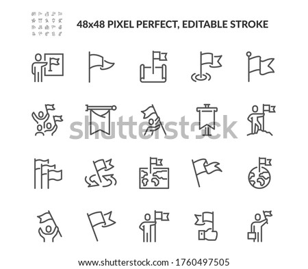 Simple Set of Flag Related Vector Line Icons. Contains such Icons as Achievement, Victory, Map with a Flag and more. Editable Stroke. 48x48 Pixel Perfect. #1760497505