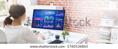 Markets KPI Dashboard On Computer. Information Technology Royalty-Free Stock Photo #1760536865