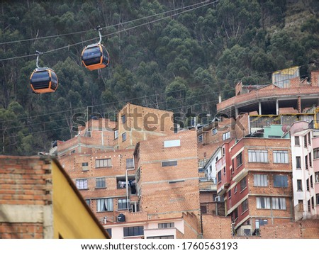 Cable Car (Teleférico) peculiar public transport system in downtown La Paz, where the government seats and de facto capital city of the Plurinational State of Bolivia. #1760563193