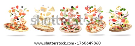 Set with delicious pizzas and flying ingredients on white background, banner design  Royalty-Free Stock Photo #1760649860