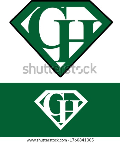 Superman style Letter CH Logo design C H Initial icon alternative GH icon EPS vector file