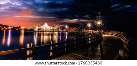 Beautiful and Romantic Places by the Sea With Wonderful Sky and Night Light Panoramic Picture