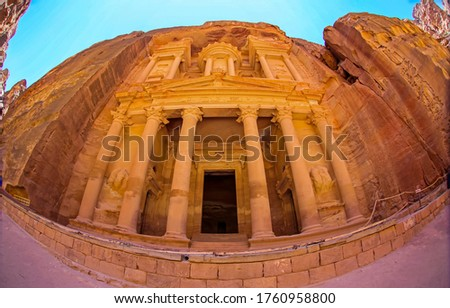 Ancient Petra temple in Jordan. Temple-mausoleum of El-Khazneh in Petra, Jordan #1760958800