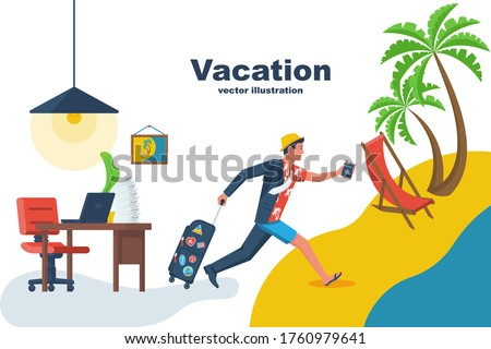Go on vacation. The manager runs from the office to the beach to relax. Dressing up on the run. Going on vacation. Vector flat design. Isolated on white background. Young man hurry on vacation. #1760979641