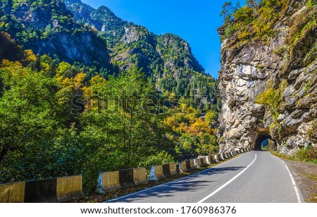 Mountain road tunnel view. Tunnel road in mountains. Mountain road tunnel landscape #1760986376