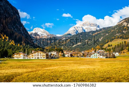 Mountain valley resort landscape view. Mountain ski resort in autumn. Mountain resort valley landscape Royalty-Free Stock Photo #1760986382