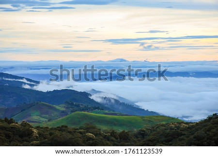Picture of green moutain scenery of Phu thap boek and sea of mis