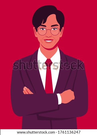 Portrait of a happy Asian man with crossed arms  and wearing in a business suit. Office professions. Vector flat illustration.