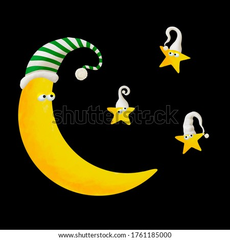 Moon and small stars characters family in night caps. Good nigh clip art set on black background