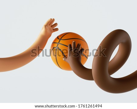 3d render, african and caucasian cartoon flexible hands fight for ball, two funny basketball players. Sport clip art