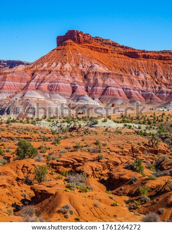 Picturesque spurs of red sandstone mountains. Paria Canyon-Vermilion Cliffs Wilderness Area. USA. Arizona, Utah. The concept of active, extreme and photo tourism #1761264272