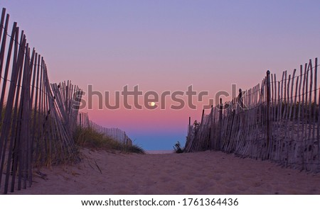 Harvest Moonrise at Sunset on New Hampshire Coast, Boardwalk to the Beach #1761364436