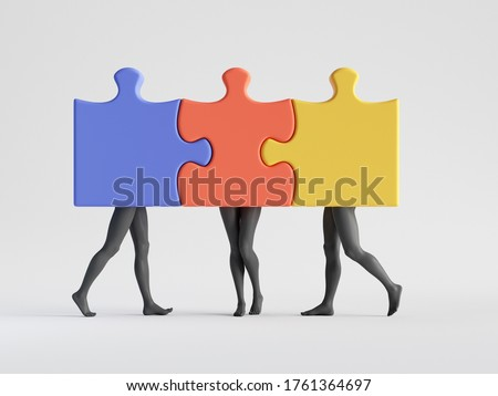 3d render. Abstract colorful puzzle pieces with mannequin legs attached together. Polyamory metaphor. Social role play. Minimal clip art isolated on white background