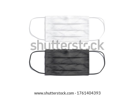 Blank black and white medical protection mask mockup, top view, 3d rendering. Empty sickness or corona virus protect filter mock up, isolated. Clear hygiene respiration for healthcare mokcup template.