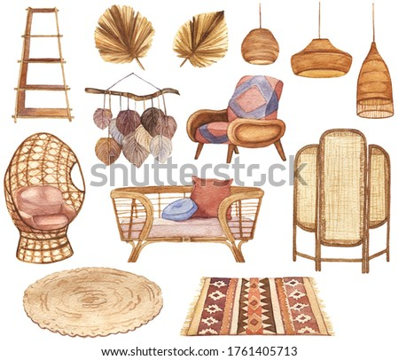 Watercolor Modern Boho Interior Clipart. Home Decor Elements. Nature Color Living Room Design. Bohemian style apartment in warm colors.